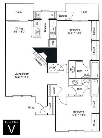 965 sq. ft. V floor plan