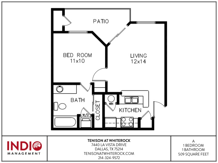 509 sq. ft. A1 floor plan
