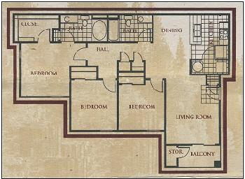 1,202 sq. ft. SANTA FE floor plan