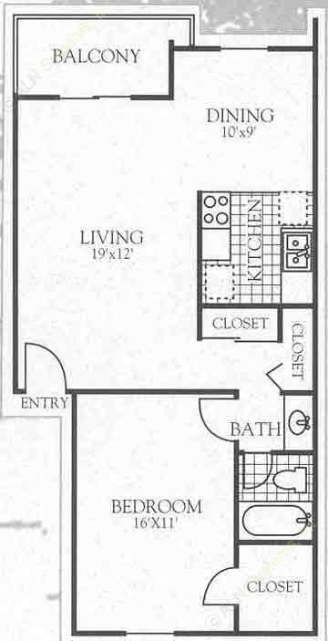 653 sq. ft. A1A floor plan