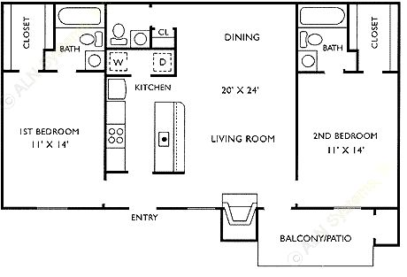 964 sq. ft. E floor plan