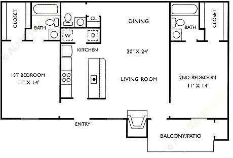 964 sq. ft. E floor plan