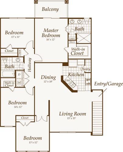 1,557 sq. ft. BOARDWALK-up floor plan