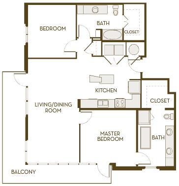 1,298 sq. ft. B2F floor plan