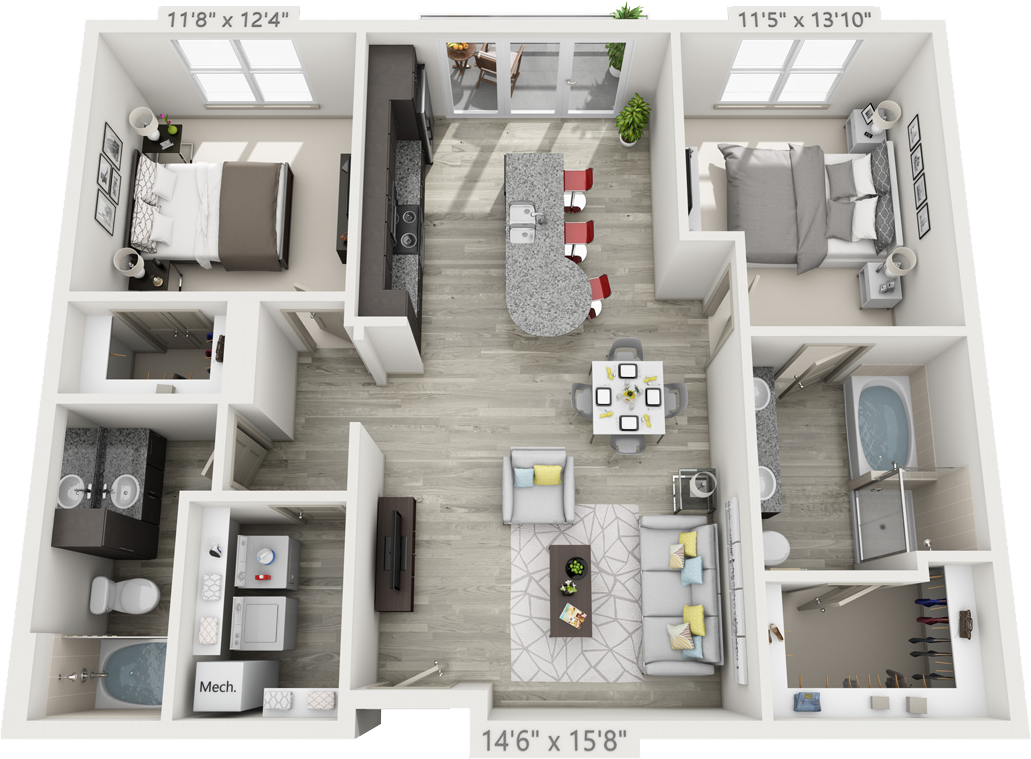 1,142 sq. ft. B2 floor plan