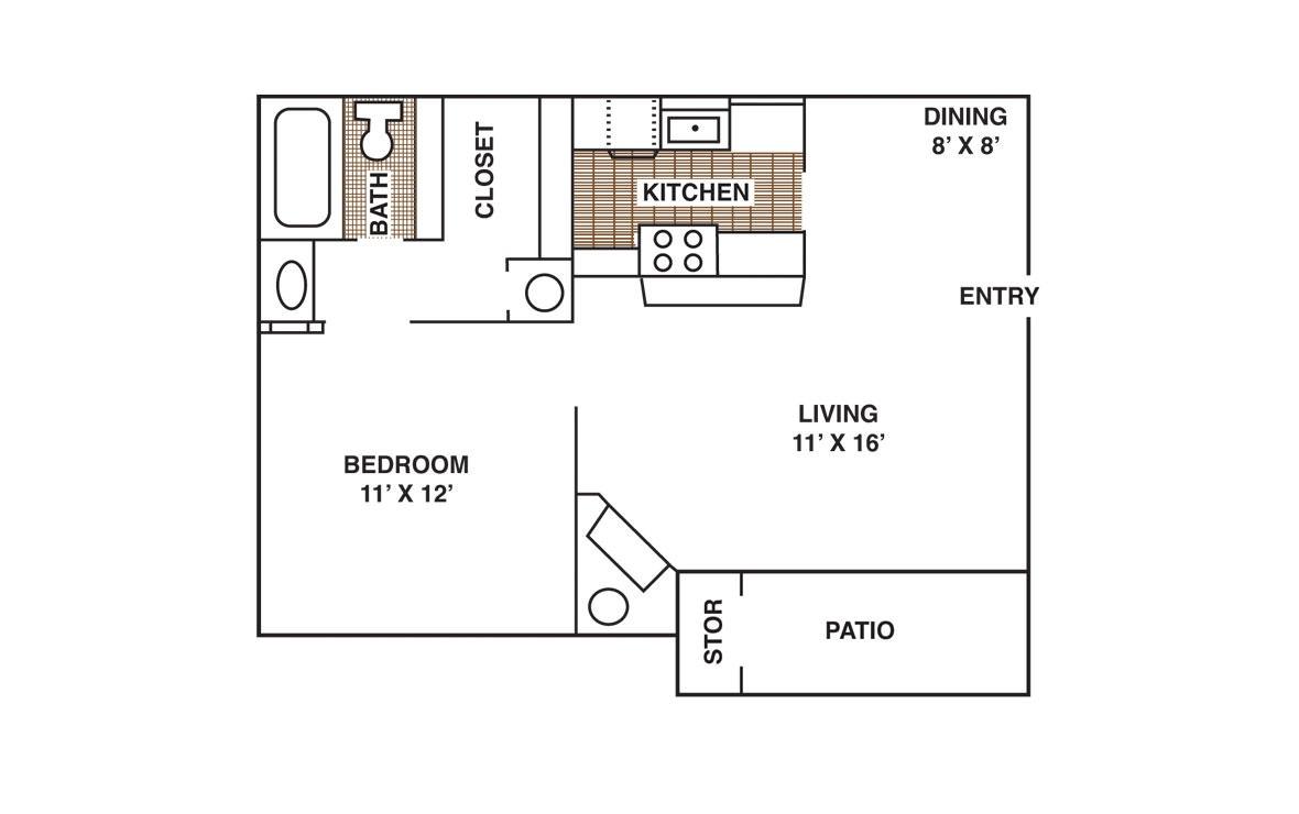 608 sq. ft. A2 floor plan