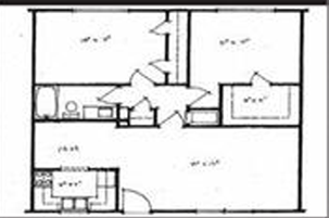950 sq. ft. 2X1 floor plan