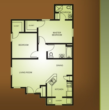 930 sq. ft. B1/MKT floor plan