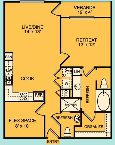 864 sq. ft. A1 floor plan