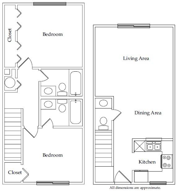 921 sq. ft. B3 floor plan