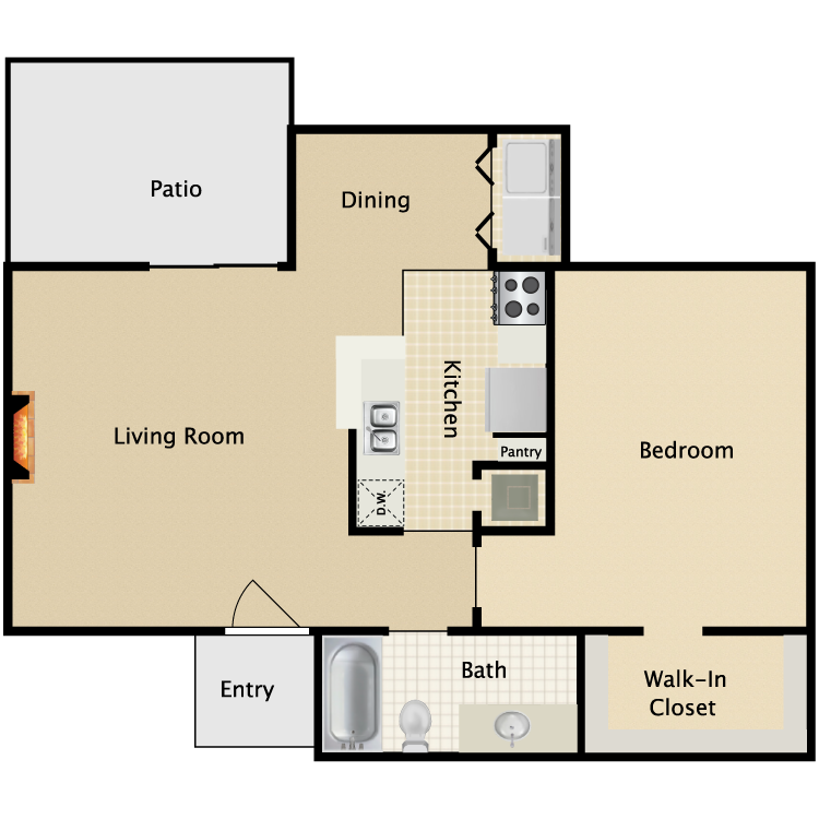 700 sq. ft. C1/C2 floor plan