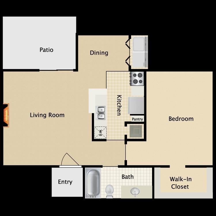 700 sq. ft. A9 floor plan
