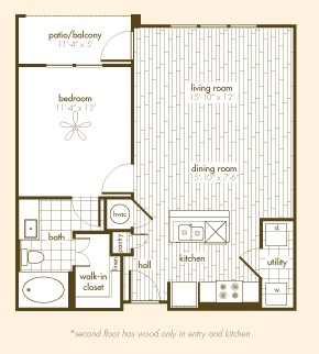 767 sq. ft. A1.B floor plan