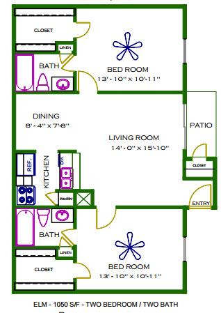 1,050 sq. ft. Elm floor plan