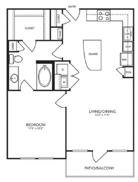 745 sq. ft. A4 floor plan