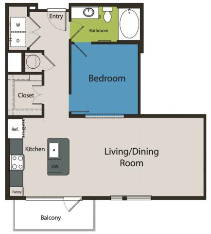 800 sq. ft. E2.1 floor plan