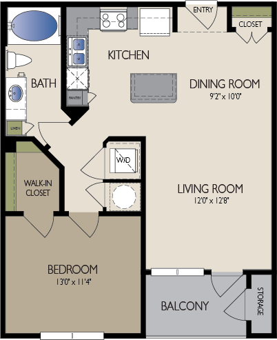 748 sq. ft. Dubi floor plan