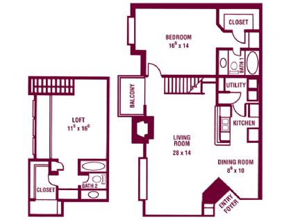 1,400 sq. ft. Golden Maple floor plan