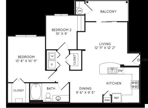 905 sq. ft. A4 floor plan