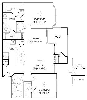 1,073 sq. ft. B1/Mirabella floor plan
