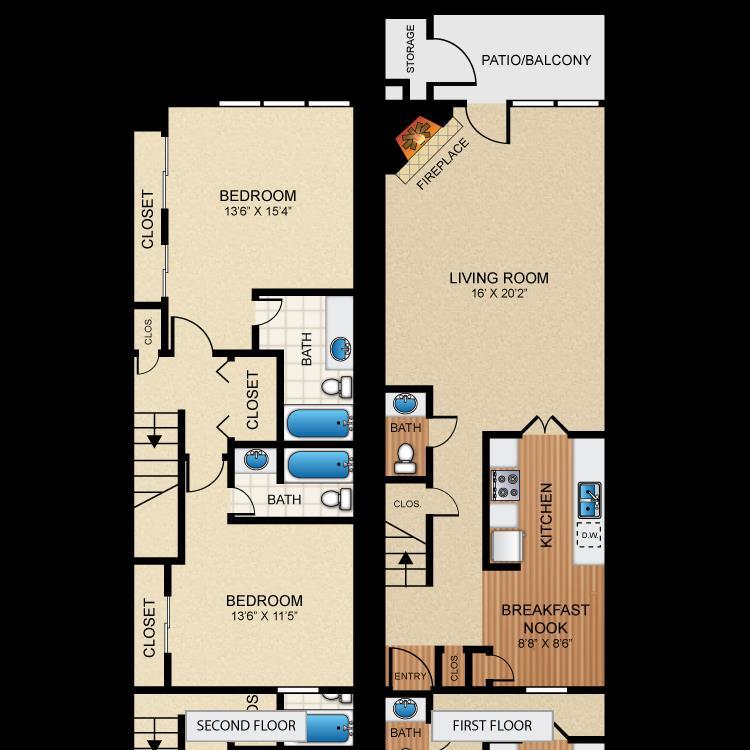 1,335 sq. ft. B8 floor plan