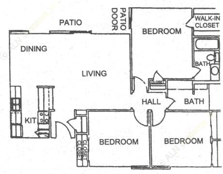 1,122 sq. ft. C1 floor plan