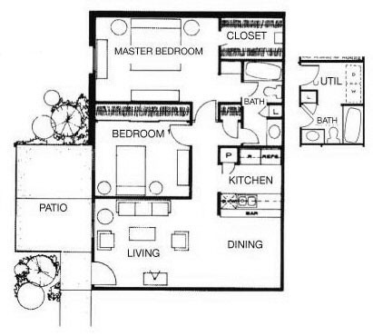 914 sq. ft. Acapulco floor plan