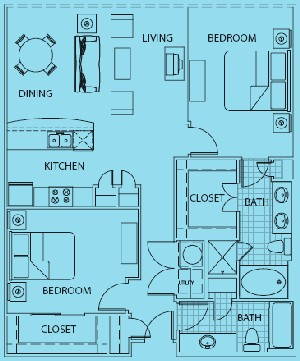 1,145 sq. ft. to 1,175 sq. ft. Genova floor plan
