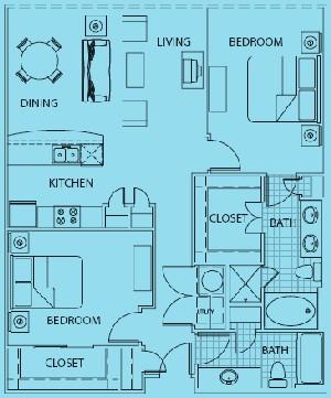 1,145 sq. ft. to 1,175 sq. ft. Genova floor plan