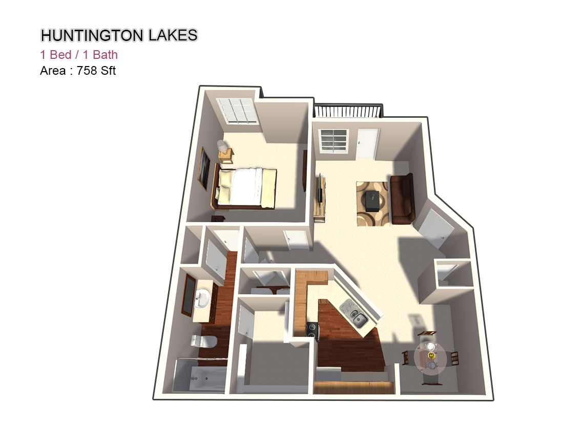 758 sq. ft. 1X1 floor plan