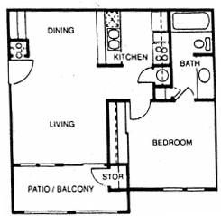 562 sq. ft. A floor plan
