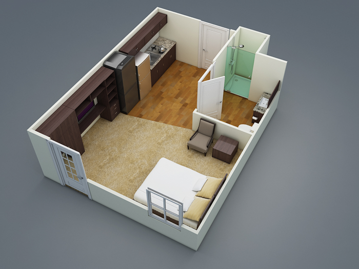 350 sq. ft. E1 floor plan