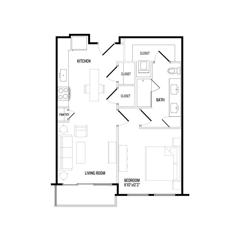699 sq. ft. A4A floor plan