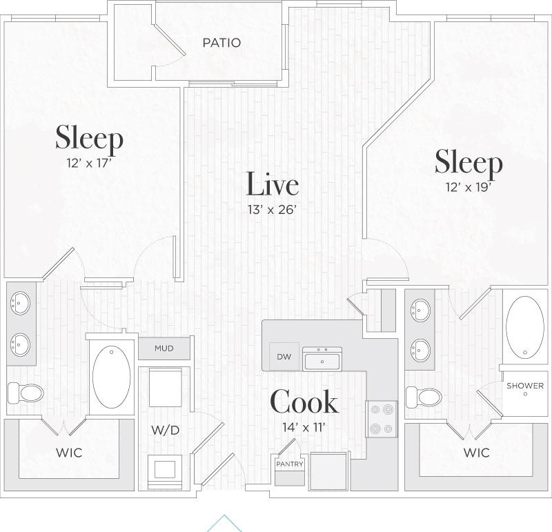 1,189 sq. ft. Matteo II floor plan
