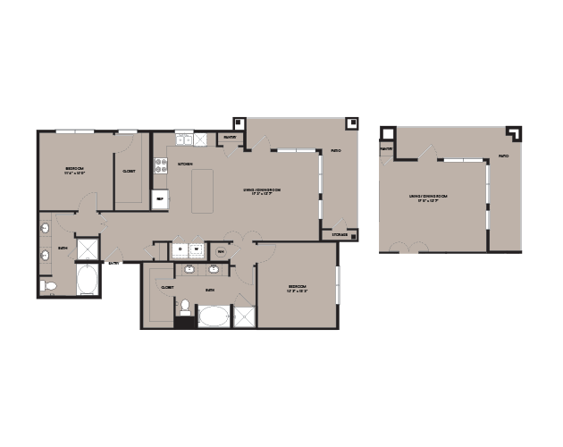 1,280 sq. ft. B5.1 floor plan