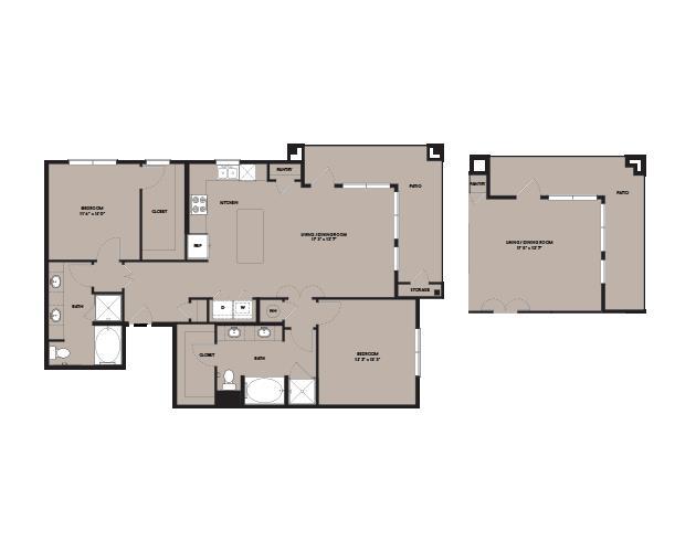 1,280 sq. ft. B5.2 floor plan