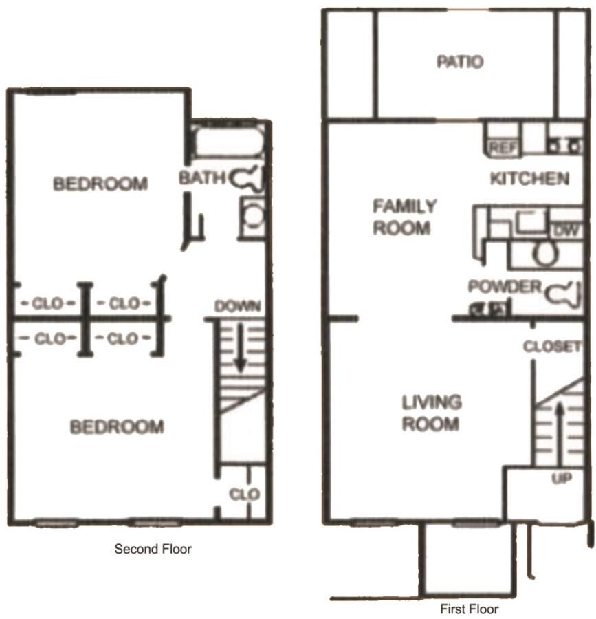 912 sq. ft. SB1 floor plan
