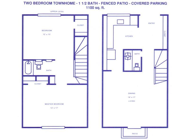1,100 sq. ft. D floor plan