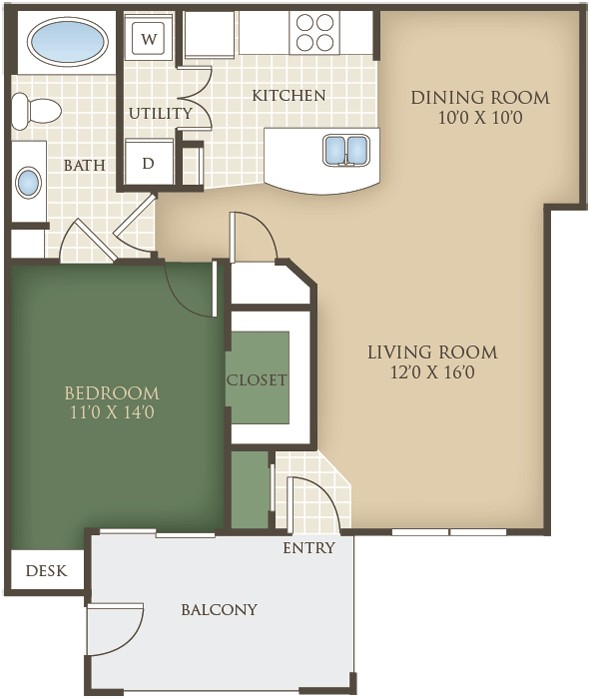 785 sq. ft. A3 floor plan