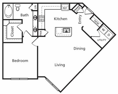 930 sq. ft. B7 floor plan