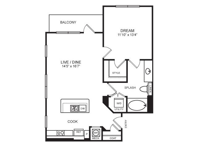 798 sq. ft. Avenue floor plan