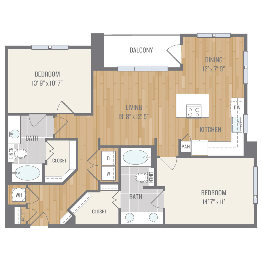 1,193 sq. ft. B3.1 floor plan