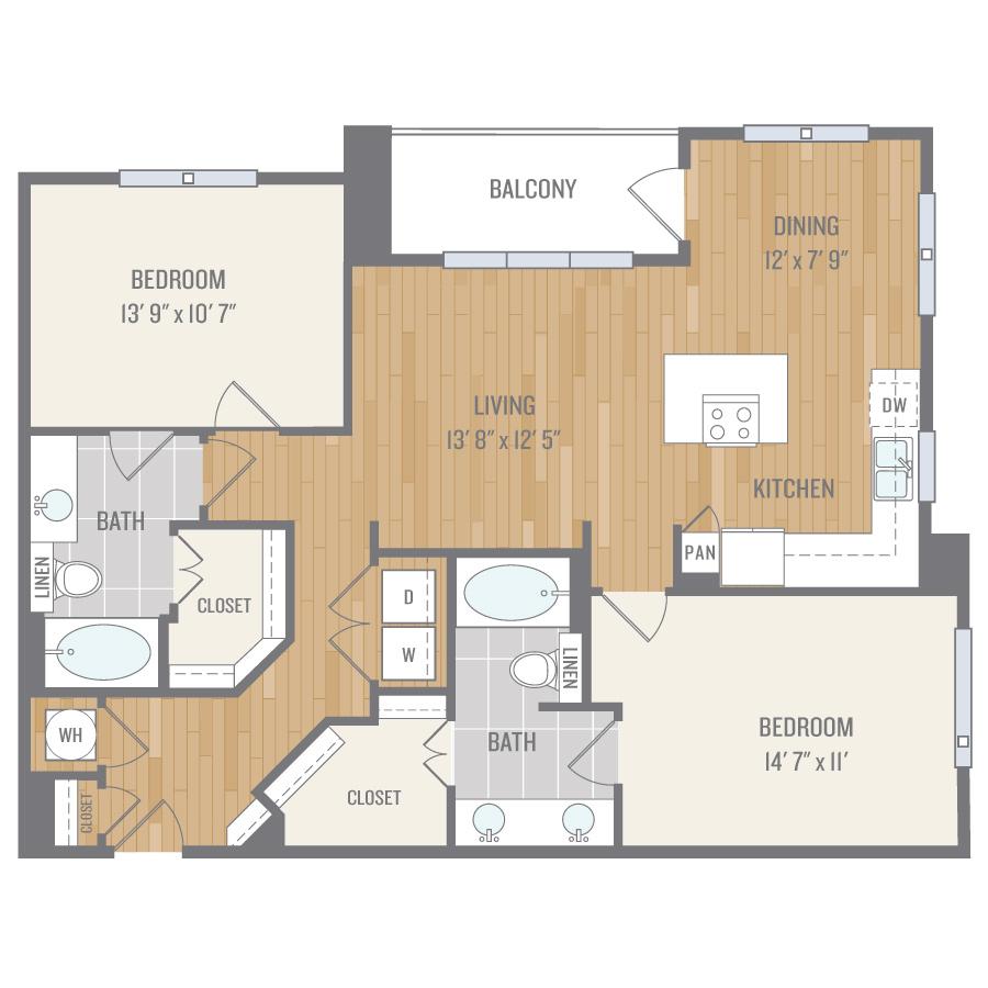 1,193 sq. ft. B3 floor plan