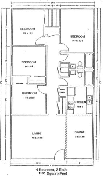 1,132 sq. ft. 50% floor plan