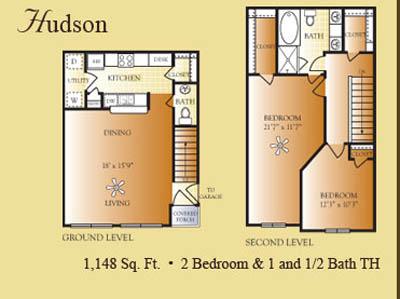 1,148 sq. ft. Hudson floor plan