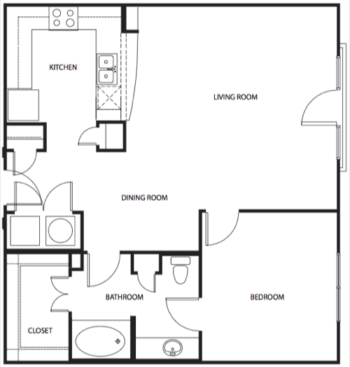 934 sq. ft. 3A2-3 floor plan