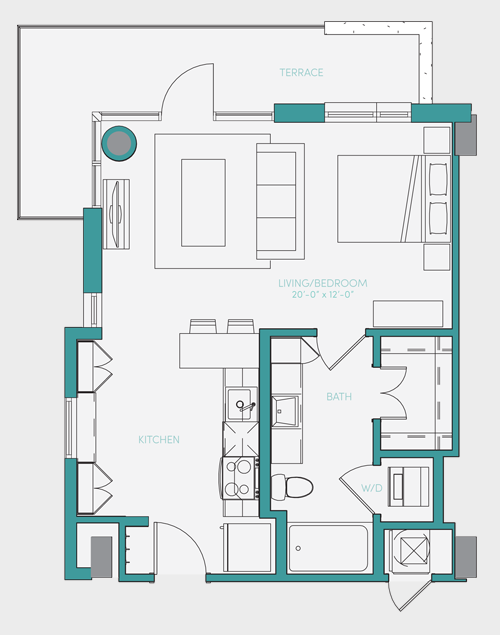 586 sq. ft. S1.5 floor plan