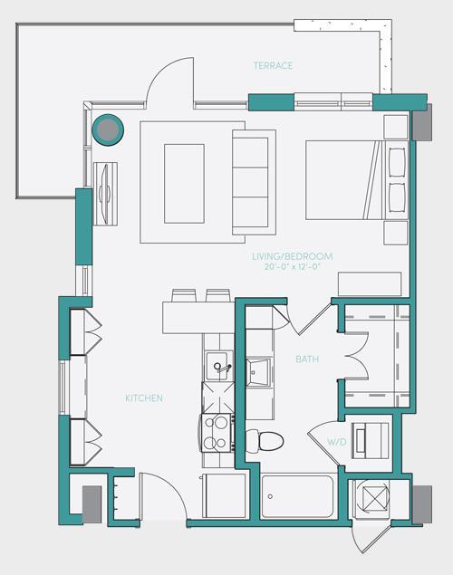 586 sq. ft. S1.5 floor plan