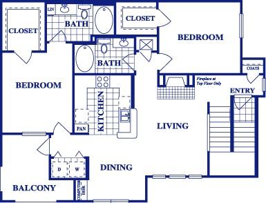1,123 sq. ft. B3 floor plan