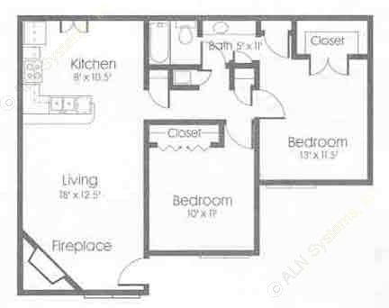1,014 sq. ft. floor plan